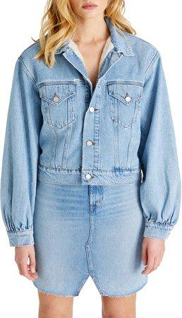 Atica Lauryn Puff Sleeve Faux Shearling Lined Denim Jacket