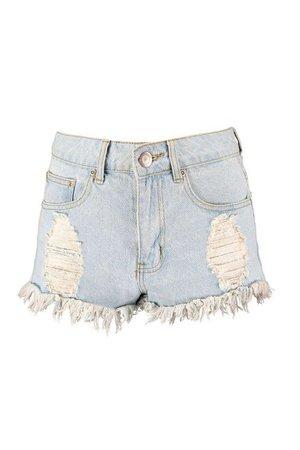 Light Blue High Waist Ripped Denim Hotpants | Boohoo