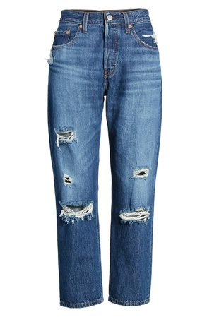 Levi's® 501® Ripped Crop Straight Leg Jeans