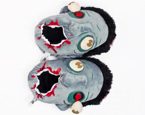 Blue Zombie Slippers | Plush Blue Zombie Slipper