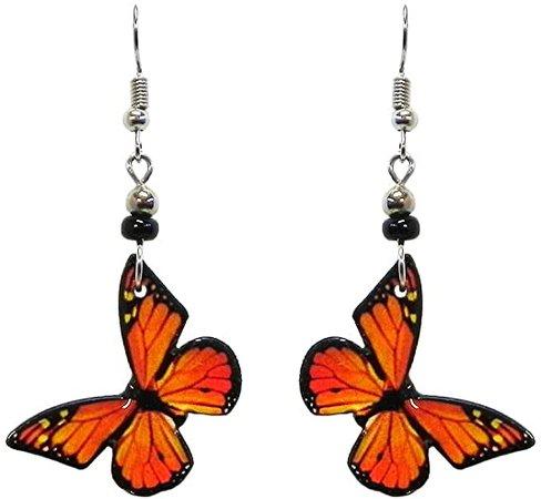 Amazon.com: Butterfly Dangle Earrings (Monarch/Orange): Jewelry