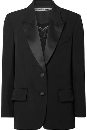 Alexander Wang   Embellished silk satin-trimmed wool blazer   NET-A-PORTER.COM