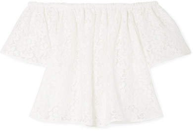 Off-the-shoulder Corded Cotton-blend Lace Top - Ivory
