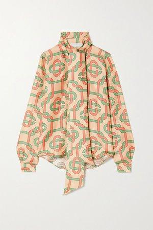 Beige Tie-detailed printed silk-twill blouse | Casablanca | NET-A-PORTER