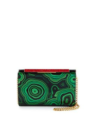 Christian Louboutin Vanite Small Printed Patent Clutch Bag, Green