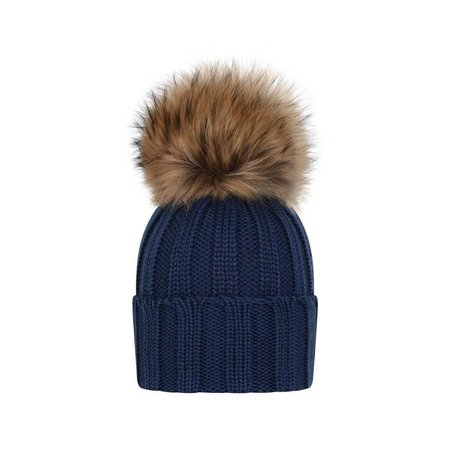 hats blue wool knitted with brown fur - Google Search