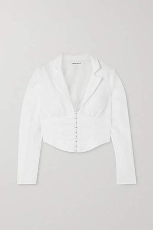 Vance Cropped Linen Blouse - White