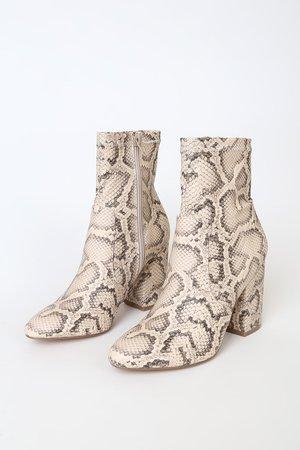 Steve Madden Ragan - Light Beige Snake Boots - Mid-Calf Boots