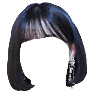 Short Black Hair Bangs PNG
