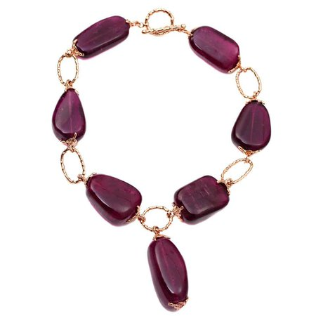 Large Tourmaline and Gold Link Necklace For Sale at 1stDibs