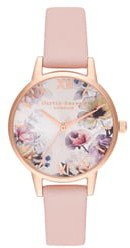 Sunlight Florals Leather Strap Watch, 30mm