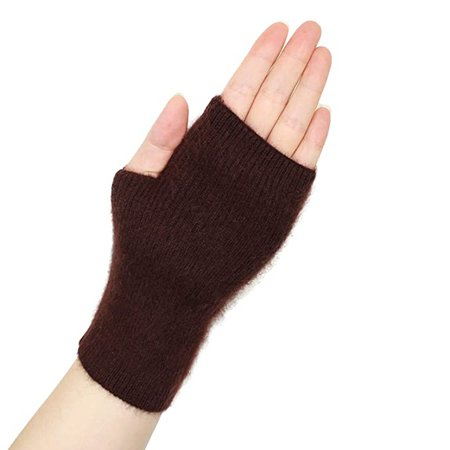 Volyer Women's Winter Mink Cashmere Half Finger Gloves Cute Fingerless Gloves Mitts Christmas Xmas Gift for Girlfriend Wife Lover Mother (Coffee) at Amazon Women's Clothing store