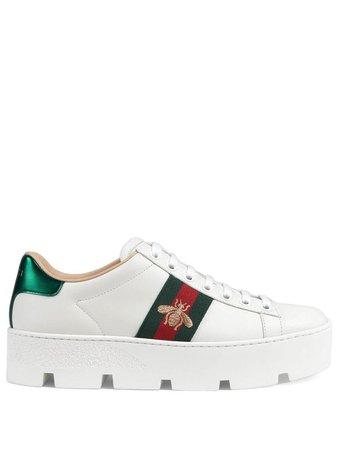 White Gucci Ace Embroidered Platform Sneaker | Farfetch.com
