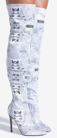 """White """"Newspaper"""" Thigh Boots"""