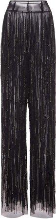 Alberta Ferretti Embellished Tulle Straight-Leg Pants