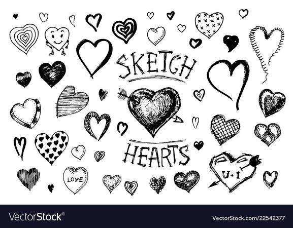Set hearts doodle valentine love symbol Royalty Free Vector
