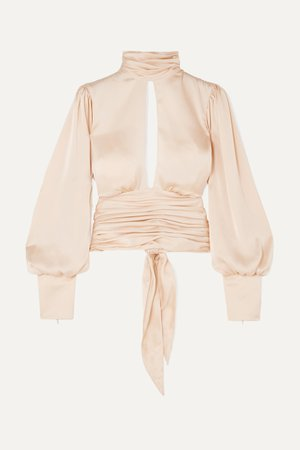 Neutral Night Out open-back ruched satin blouse   Orseund Iris   NET-A-PORTER