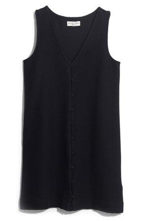 Madewell Texture & Thread Button Front Tank Dress Black