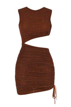 Clothing : Bodycon Dresses : Mistress Rocks 'Ego' Cocoa Mesh Asymmetric Cutout Mini Dress