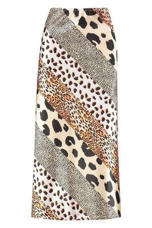 Mixed Animal Satin Slip Skirt | Boohoo