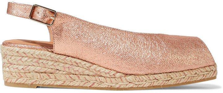 Dosalia Metallic Linen Espadrille Wedge Sandals
