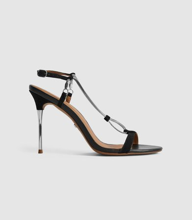 Kendall Black Chain Detail Heeled Sandals – REISS