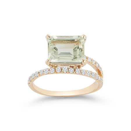 14kt Gold Green Amethyst Point of Focus Ring – MATEO