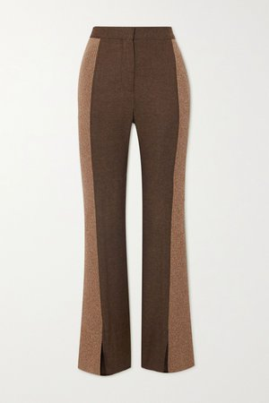 Brown Paneled wool-blend slim-leg pants | Burberry | NET-A-PORTER