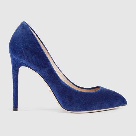 Velvet pump with removable Sylvie bow - Gucci Women's Pumps 474467K4D004511