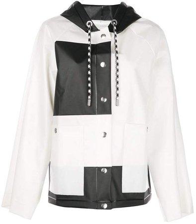 colour block short raincoat