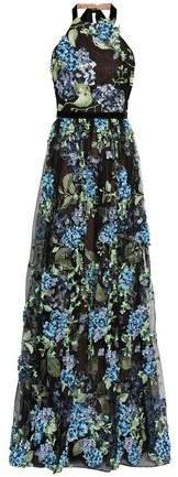 Floral-appliqued Embroidered Point D'esprit Halterneck Gown