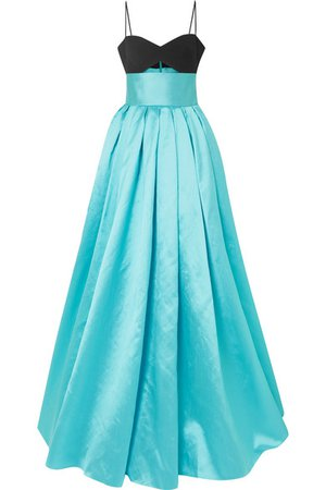 Rasario | Cutout crepe and duchesse silk-blend satin gown | NET-A-PORTER.COM