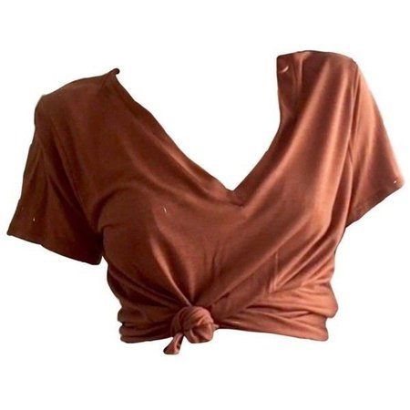 tied-up redish brown t-shirt