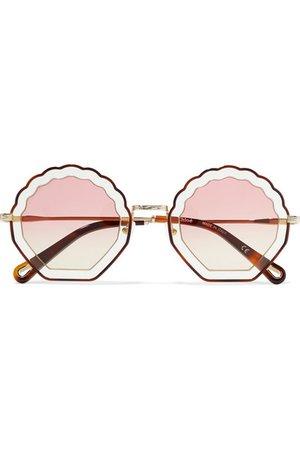 Chloé   Scalloped round-frame gold-tone and tortoiseshell acetate sunglasses   NET-A-PORTER.COM
