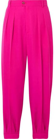 Cropped Pleated Wool Tapered Pants - Pink