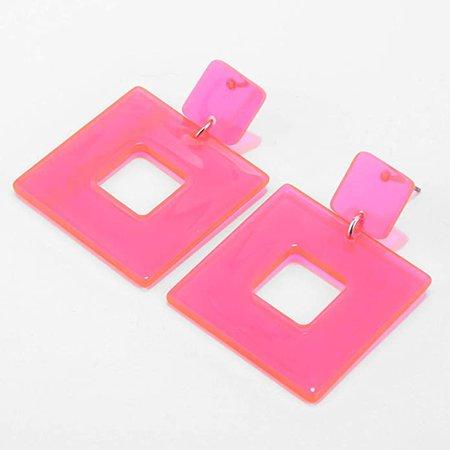 Amazon.com: Eran Fashions 2 Pairs Neon Transparent Acrylic Earrings Geometric Resin Dangle Earrings for Girls (Pink+Yellow): Jewelry