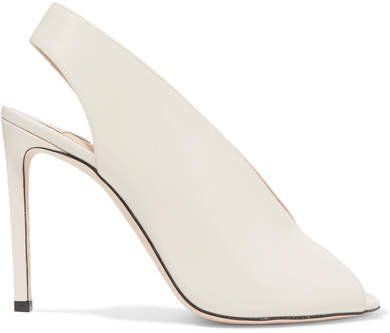 Shar 100 Glossed-leather Slingback Pumps - Ivory