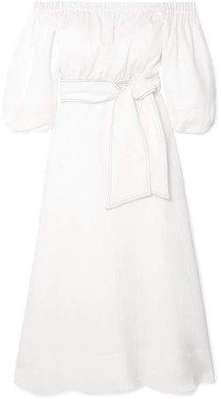 Gabriela Hearst - Riley Off-the-shoulder Linen Dress - White