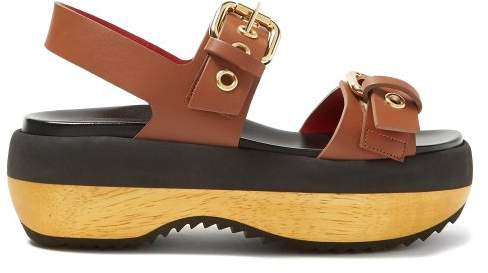 Double Strap Buckled Leather Flatforms - Womens - Tan