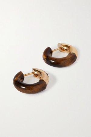 Brown Gold-tone tiger's eye hoop earrings | Bottega Veneta | NET-A-PORTER