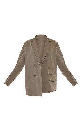 Khaki Woven Double Pocket Side Button Dad Blazer   PrettyLittleThing USA