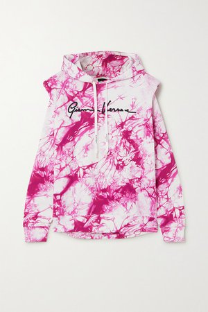 Embroidered Tie-dyed Cotton-jersey Hoodie - Pink