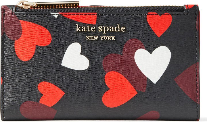 Small Spencer Celebration Hearts Saffiano Leather Slim Bifold Wallet
