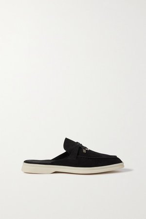 Babouche Charms Walk Suede Slippers - Black