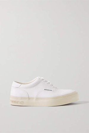 Andy Textured-leather Sneakers - White