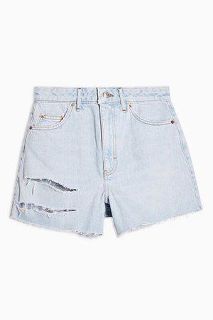 Bleach High Waisted Ripped Denim Shorts | Topshop