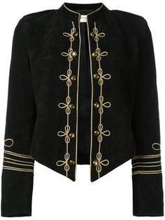 Groom Cropped velvet military jacket - women
