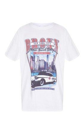 White Vintage Police Print Oversized T Shirt | PrettyLittleThing USA