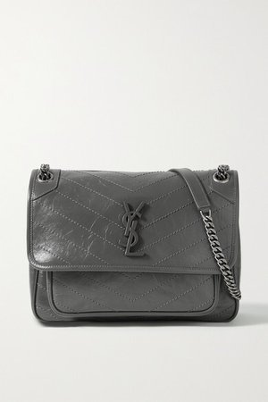 Niki Medium Crinkled Glossed-leather Shoulder Bag - Dark gray