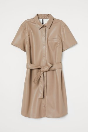 Faux Leather Dress - Brown